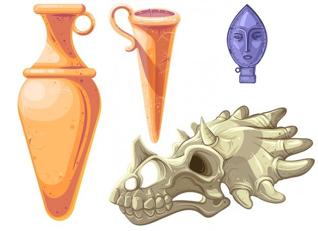 Archeologische en paleontologische vondsten cartoon Gratis Vector