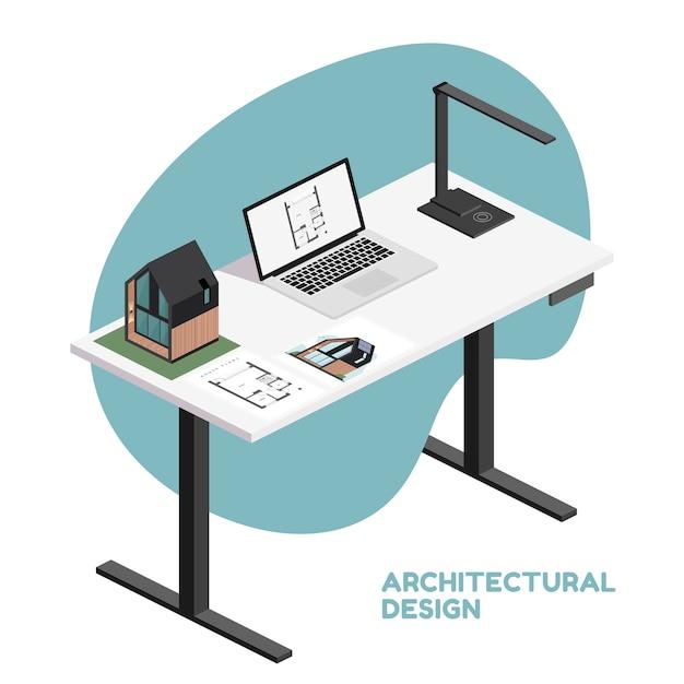 Architect isometrische desktop met tools zoals laptop, lamp en bouwplan, architectonisch model van huis, render document. Premium Vector