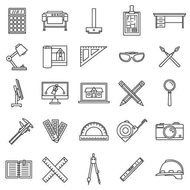 Architect materieel gereedschap pictogrammen instellen Premium Vector