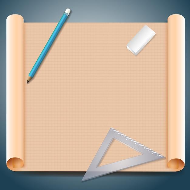 Architect vierkant bruin papier met pen driehoekige liniaal en gum illustratie Gratis Vector
