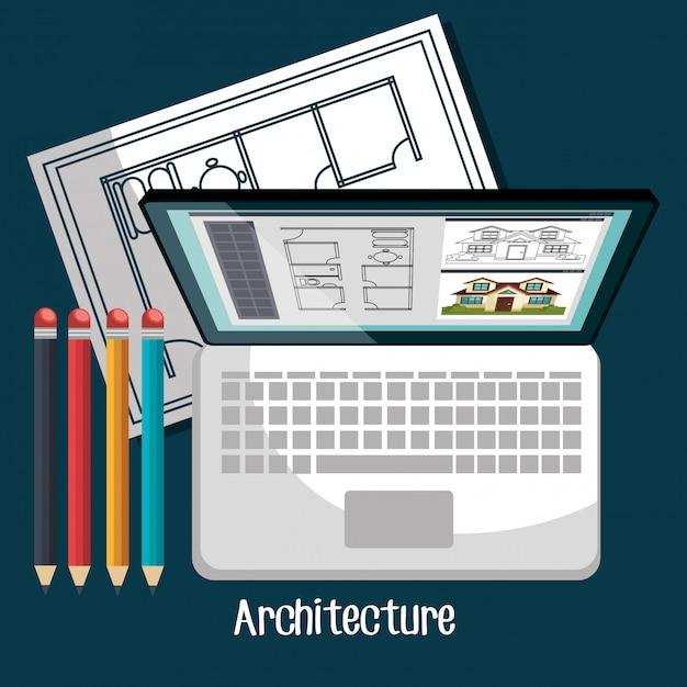 Architecturaal werkontwerp Premium Vector