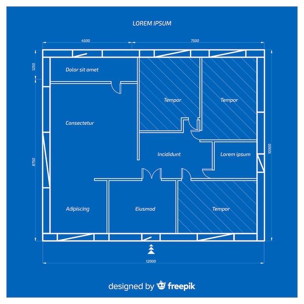 Architecturale blauwdruk van een huis Gratis Vector