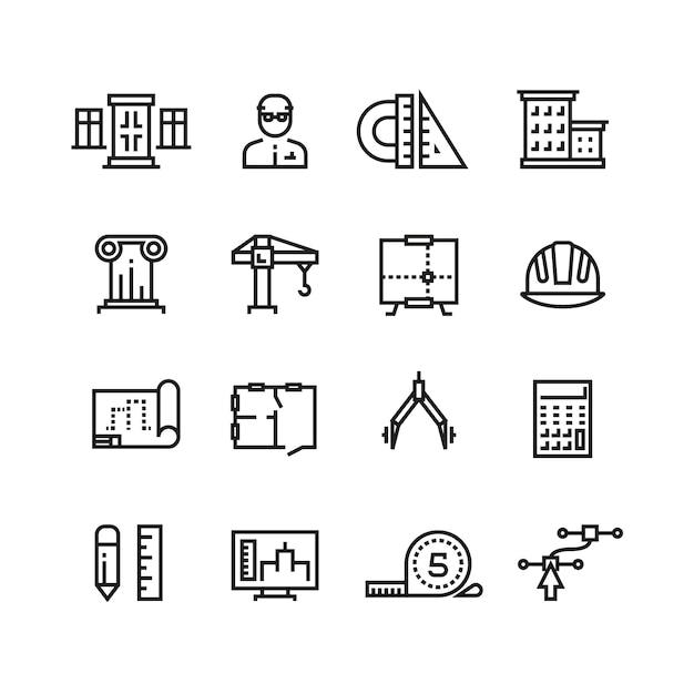 Architectuur, bouwplanning, huisbouw lijn pictogrammen instellen Premium Vector