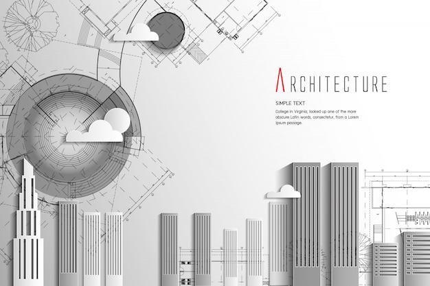 Architectuur en blauwdruk background.paper kunststijl. Premium Vector