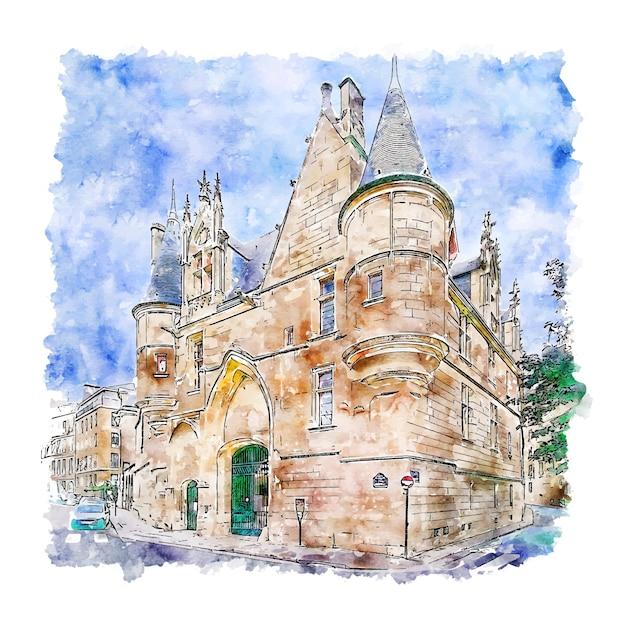Architectuur kasteel parijs aquarel schets hand getrokken illustratie Premium Vector