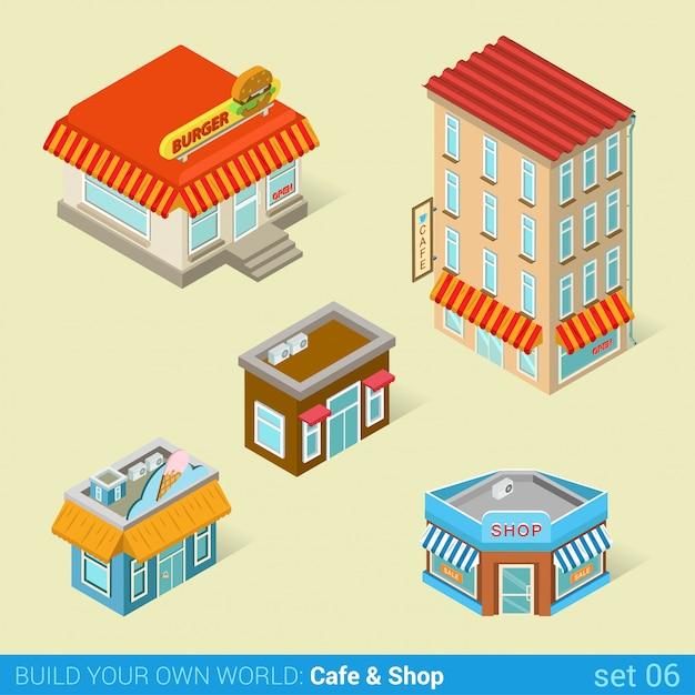Architectuur moderne stad zakelijke gebouwen platte isometrische vector set cafe fast-food ijssalon. Premium Vector