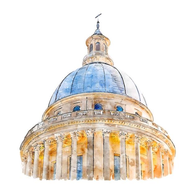 Architectuur parijs frankrijk aquarel schets hand getrokken illustratie Premium Vector