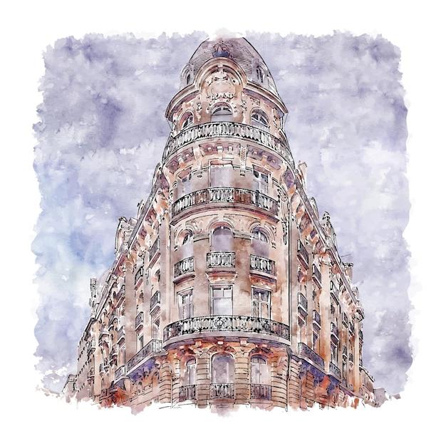 Architectuur parijs frankrijk aquarel schets hand getrokken Premium Vector