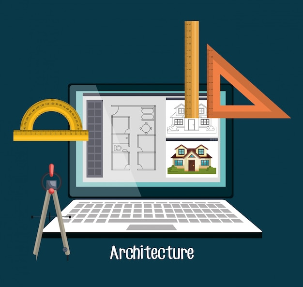 Architectuur projectontwerp Gratis Vector