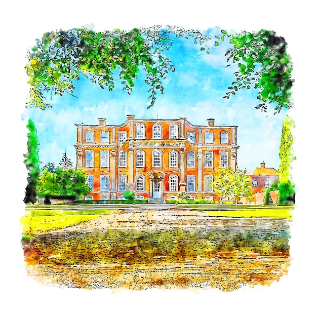 Architectuurhuis chicheley hall aquarel schets hand getrokken Premium Vector