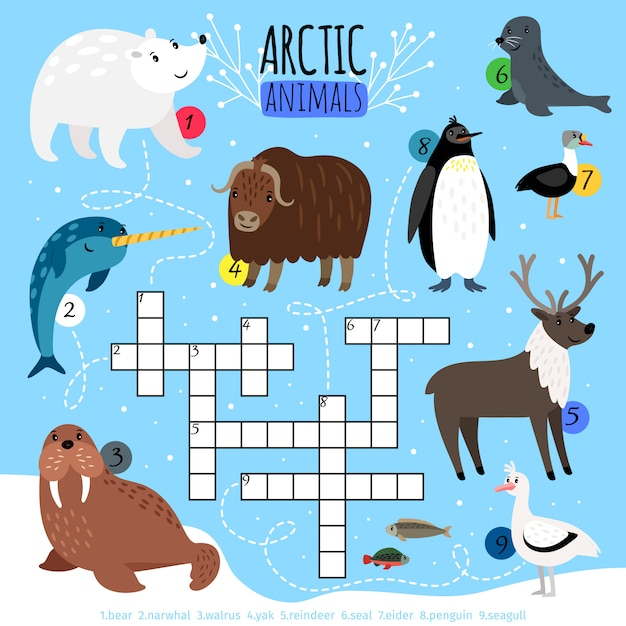 Arctische dieren kruiswoordpuzzel Premium Vector