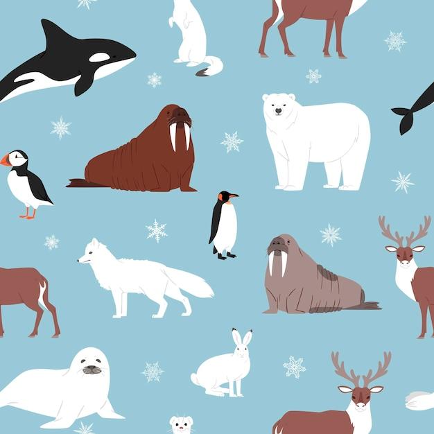 Arctische dieren naadloze patroon. Premium Vector