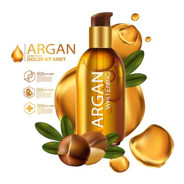 Arganolie serum en achtergrond concept skin care cosmetic Premium Vector