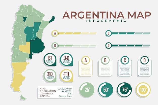 Argentinië kaart infographic in plat ontwerp Gratis Vector