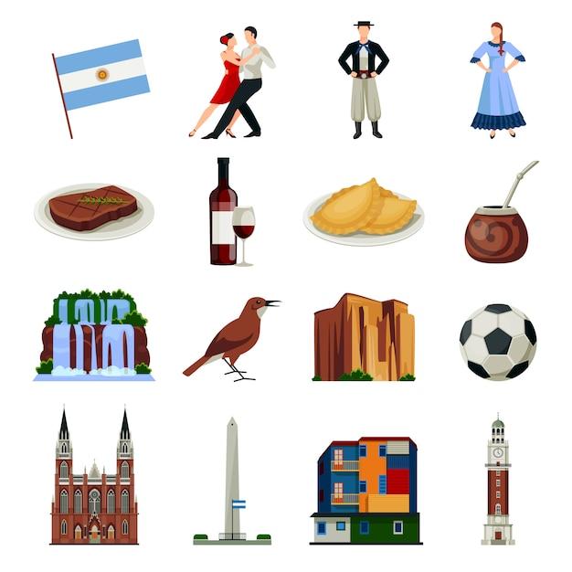 Argentinië symbolen vlakke pictogrammen collectie Gratis Vector