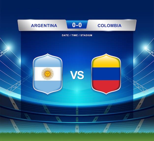 Argentinië versus colombia scorebord uitzending voetbal copa amerika Premium Vector