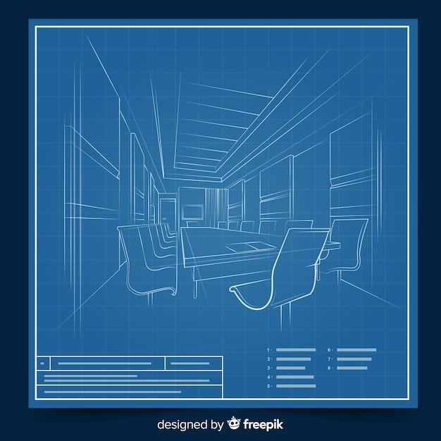 Arhitectural 3d blauwdruk van een gebouw Gratis Vector