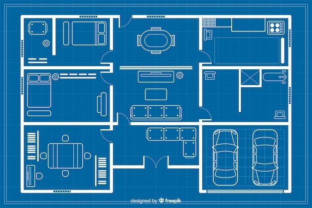 Arhitectural blauwdruk huis schets Gratis Vector