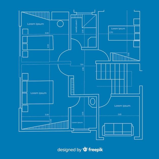 Arhitectural bouwplan van blauwdrukhuis Gratis Vector