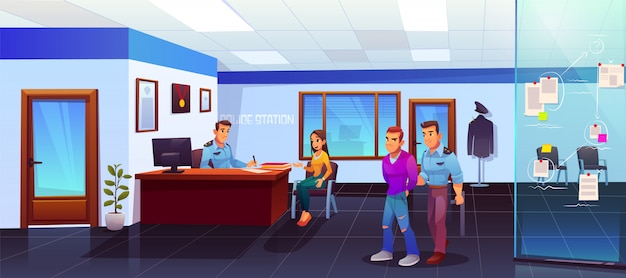 Arrestatie van crimineel in politiebureau, politieagent Gratis Vector