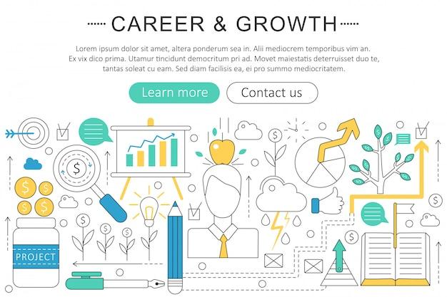 Art carrière en groei concept Premium Vector