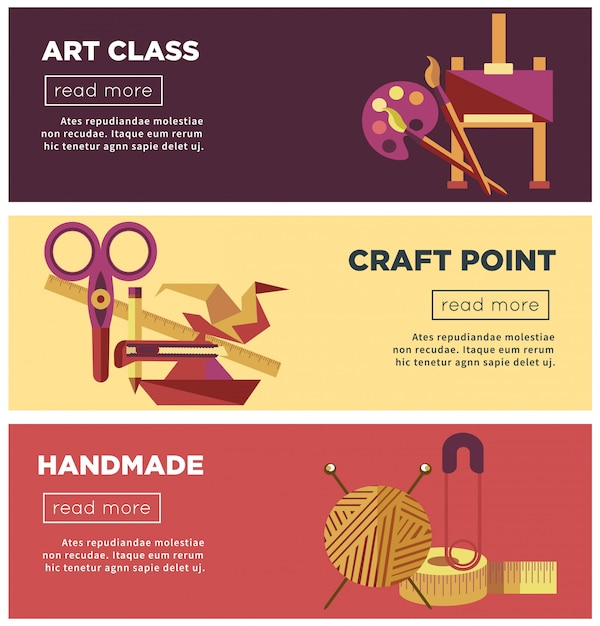 Art class, ambachtelijke punt en handgemaakte projecten internetpagina's Premium Vector