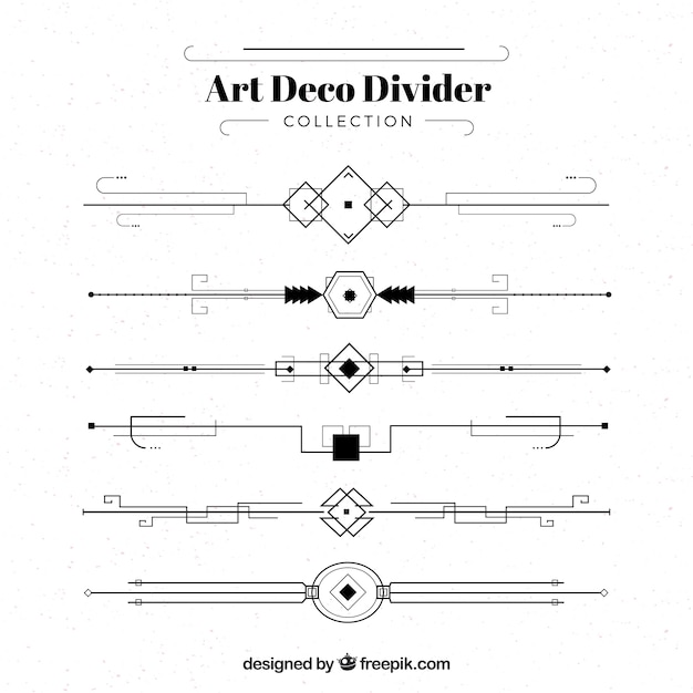 Art deco divider collectie Gratis Vector