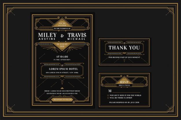 Art deco engagement / bruiloft uitnodigingskaartsjabloon met gouden kleur met frame. klassieke zwarte premium vintage stijl. inclusief bedanktags en rsvp Premium Vector