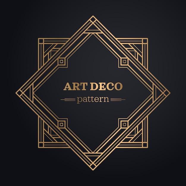 Art deco frame achtergrond Gratis Vector