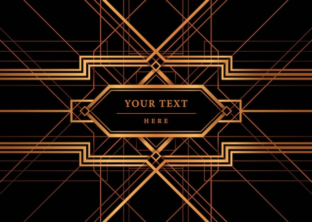 Art deco frame vector, the great gatsby deco style. Premium Vector