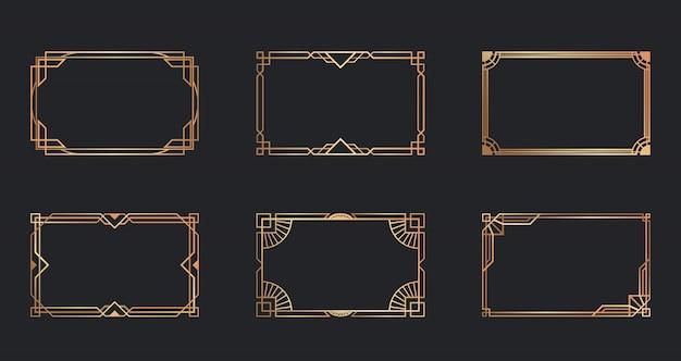 Art deco gouden frames instellen Gratis Vector