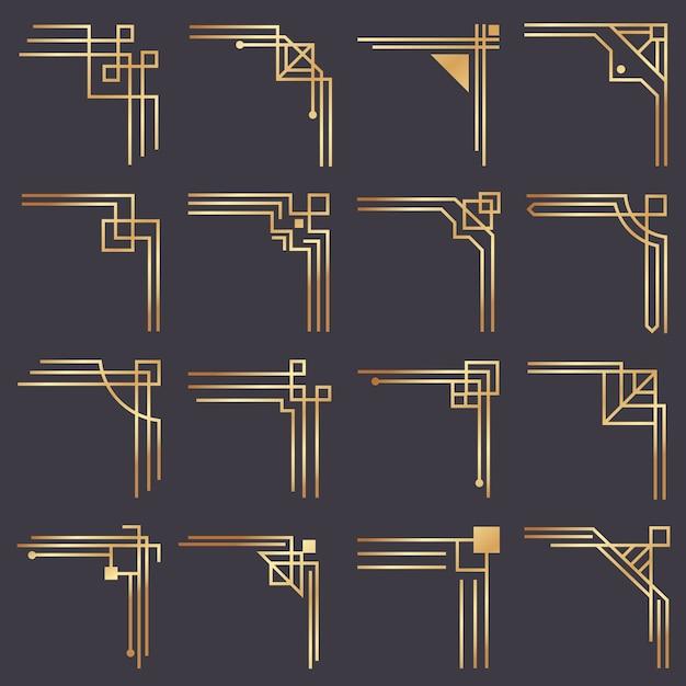 Art deco hoek. moderne grafische hoeken voor vintage gouden patroongrens. gouden jaren 1920 mode decoratieve lijnen frame set Premium Vector