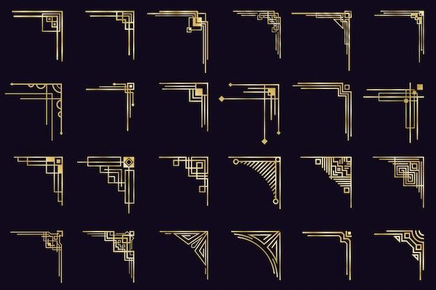 Art deco hoeken. vintage gouden arabische geometrische randen, decoratieve gouden verdelers, antieke elegante hoeken iconen set. grens sierlijke hoek, vintage gouden antieke illustratie Premium Vector