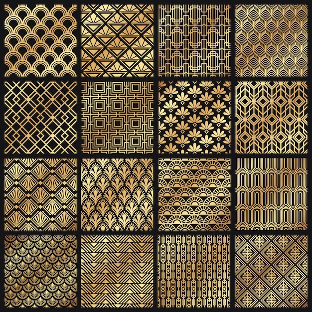 Art deco patronen. decoratieve gouden lijnen, hoekig lijnframe en 1920 kunst gouden patroon ingesteld Premium Vector