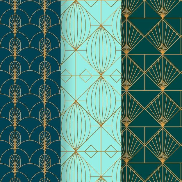 Art deco patrooncollectie Gratis Vector