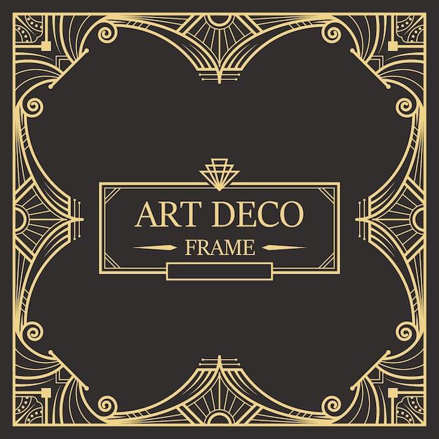 Art deco rand en frame sjabloon. Premium Vector