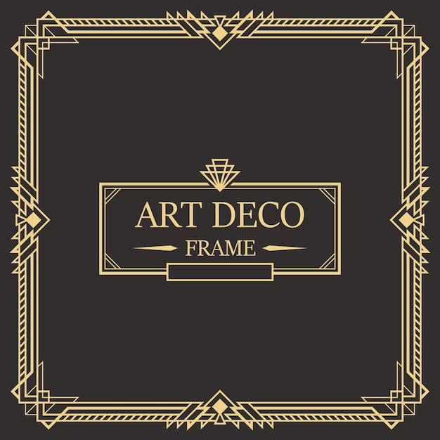 Art deco-rand en kadersjabloon. Premium Vector