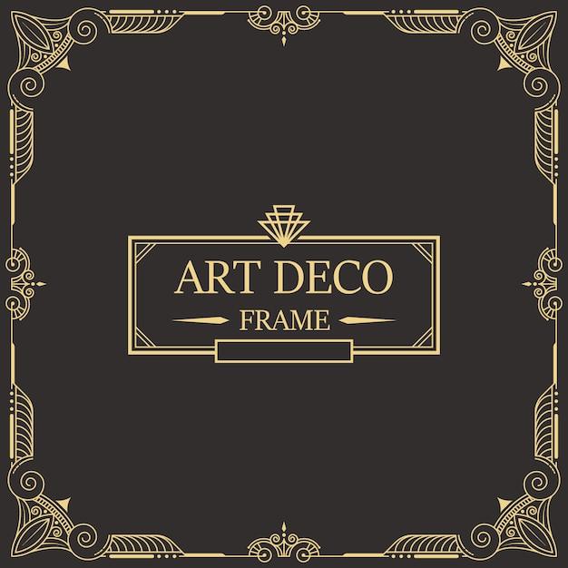 Art deco rand en lijst 26 Premium Vector