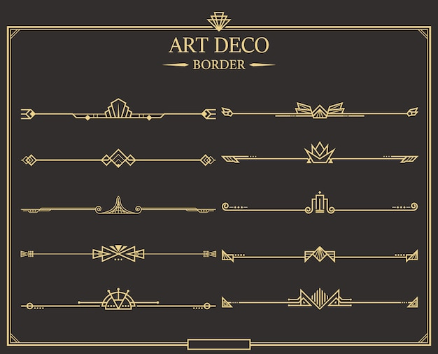 Art deco-scheidingscollectie Premium Vector