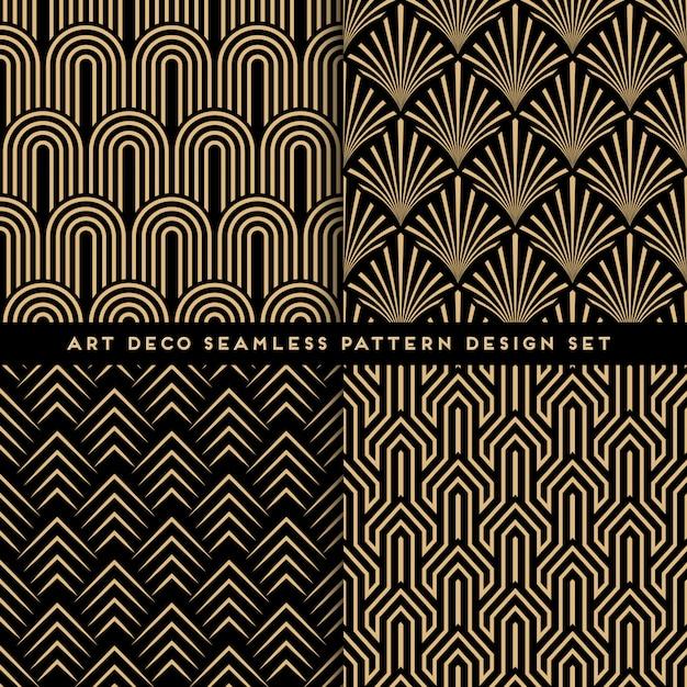 Art deco stijl naadloze patroon ingesteld Premium Vector