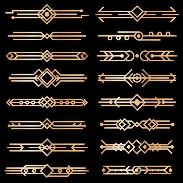 Art deco verdelers. gouden deco-ontwerplijnen, gouden boekkopranden. jaren 1920 victoriaanse vintage elementen op zwart. vector geïsoleerde set Premium Vector