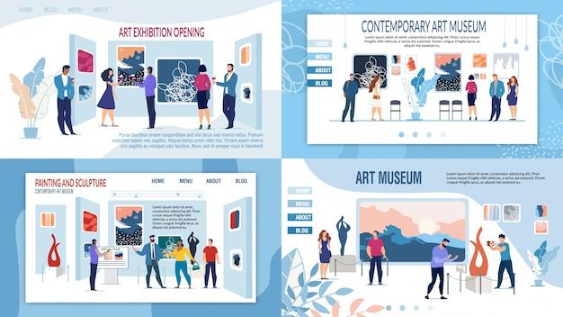 Art gallery museum presentatie landingspagina set Premium Vector