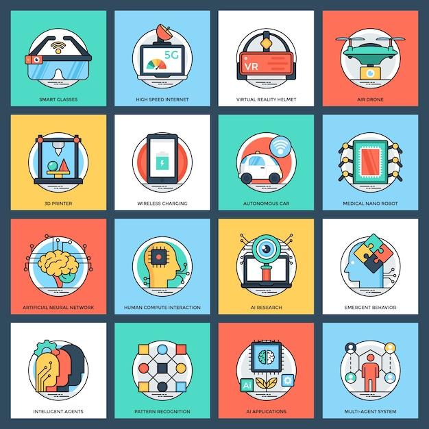 Artificial intelligence flat icons set Premium Vector
