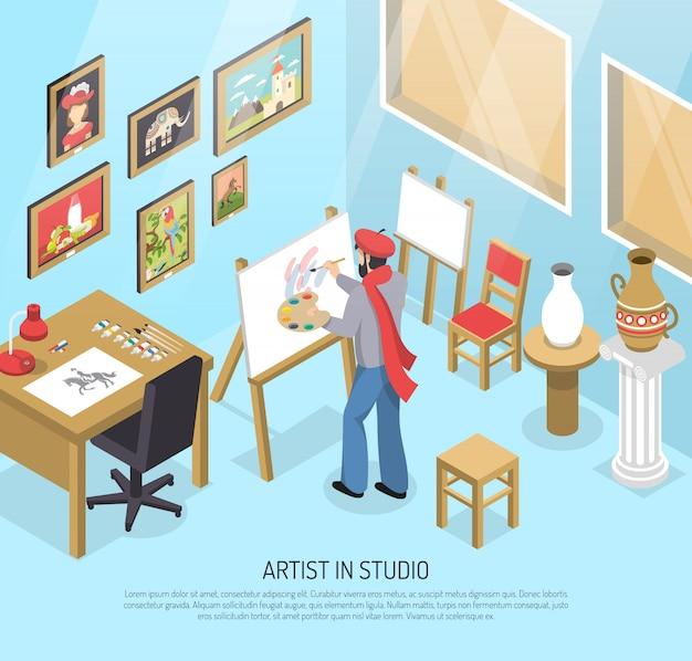 Artist in studio isometrische illustratie Gratis Vector