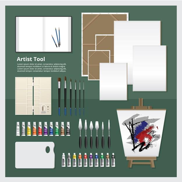 Artist tool set vector illustration Premium Vector