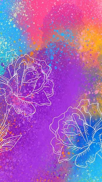 Artistiek mobiel behang met handgetekende rozen Gratis Vector
