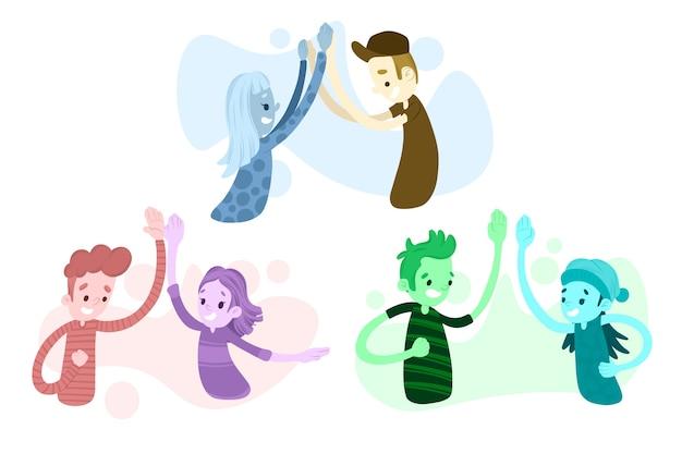 Artistieke illustratie met mensen die hoogte vijf geven Gratis Vector