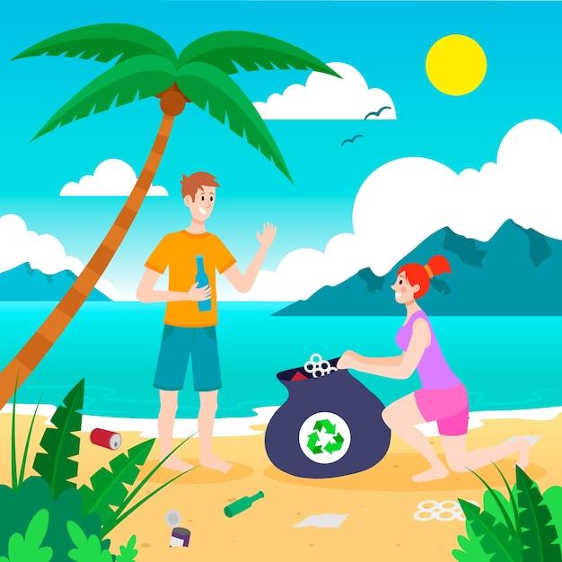 Artistieke illustratie met mensen die strand schoonmaken Gratis Vector