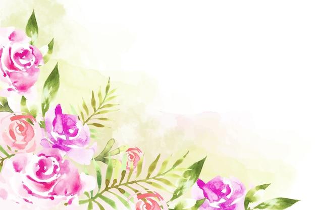 Artistieke verf met waterverf bloemenbehang Gratis Vector