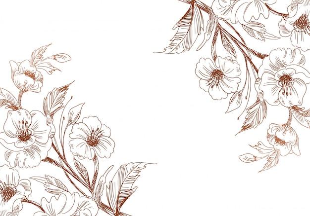 Artistieke vintage decoratieve schets bruiloft bloemen achtergrond Gratis Vector